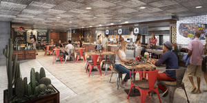 Rendering of people eating inside Portside BBQ on Oasis of the Seas