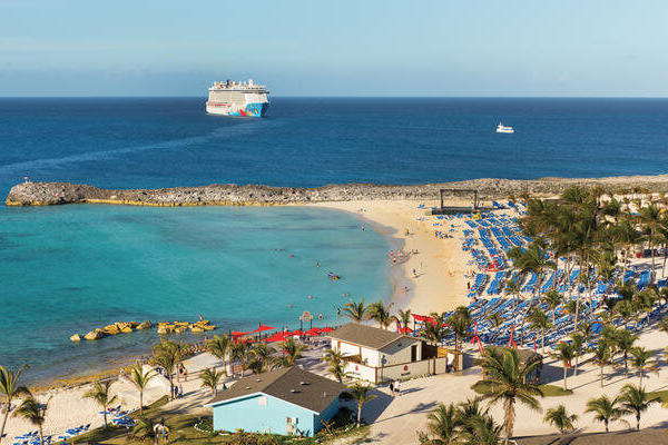 Aerial composite of Norwegian Cruise Line's Great Stirrup Cay and Royal Caribbean's CocoCay