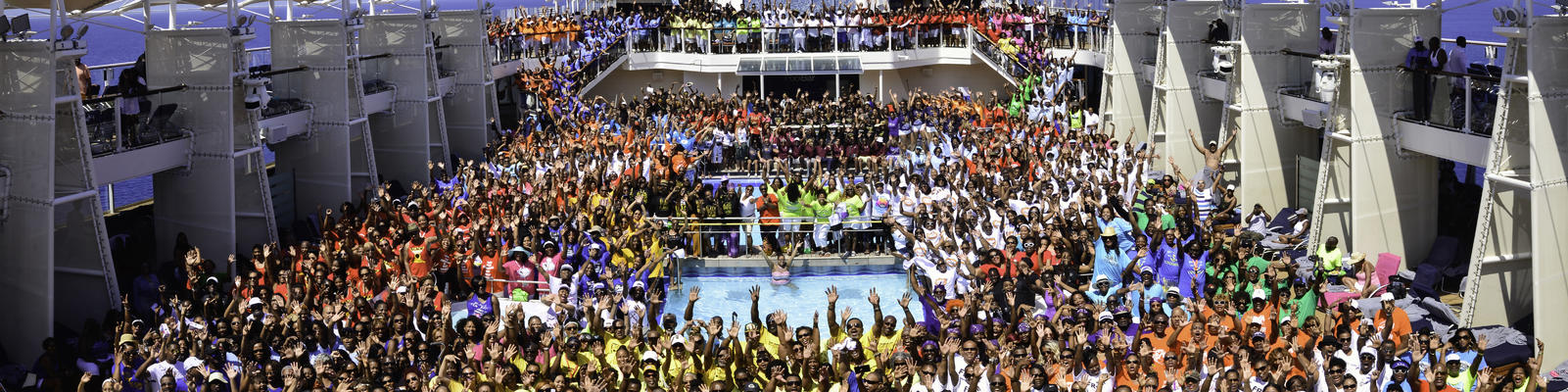 Image: Group photo from the 2018 Festival at Sea Cruise - Photo courtesy of Festival at Sea via Blue World Travel Corp.