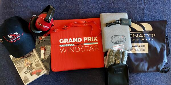 Contents of the Windstar Grand Prix Cruise swag bag  (Photo: Chris Gray Faust/Cruise Critic)