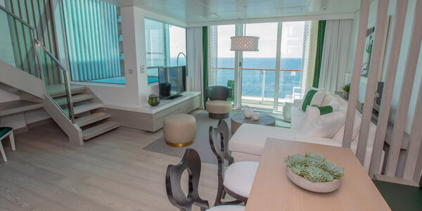 Living room of the two-story Edge Villa suite in Celebrity Edge (Photo: Celebrity Cruises)