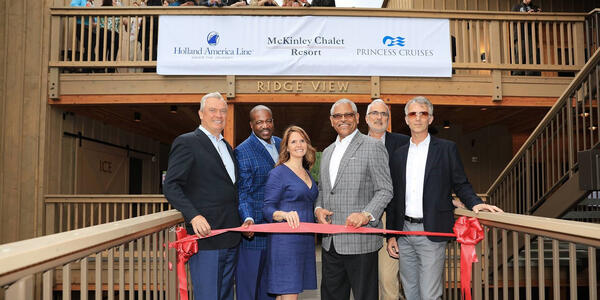 Ribbon cutting ceremony for the new three-story Ridge View expansion at the popular McKinley Chalet Resort (Photo: Holland America)