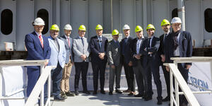 Carnival Cruise Line and Meyer Werft officers at the keel laying for Carnival Mardi Gras (Photo: Carnival Cruise Line)