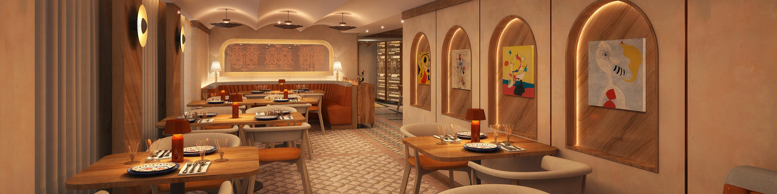Rendering of Cuadro 44 interior design