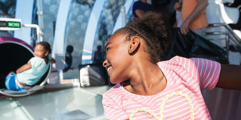 Two teenage girls on Harmony of the Seas' Ultimate Abyss