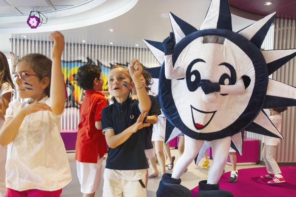 Children parading around with Doremi mascot on MSC Cruises