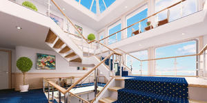 American Harmony's Gorgeous Multi-Story Glass Atrium (Photo: American Cruise Lines)