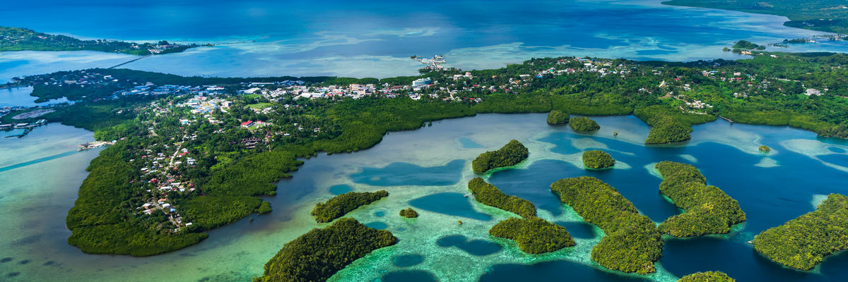 Aerial view of the streets and coral reefs of Koror (Photo: Norimoto/Shutterstock.com)