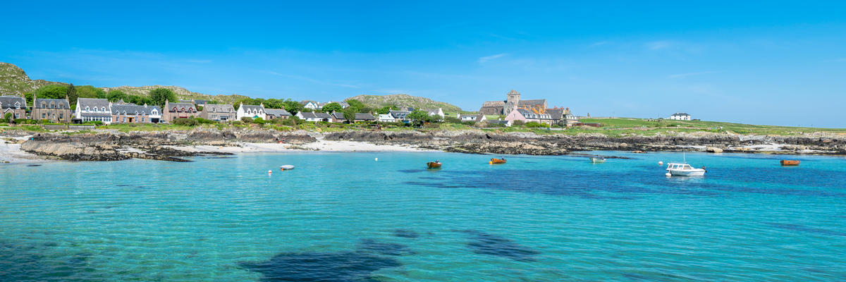 Panorama of the Village of Baile Mor, Isle of Iona, Scotland, UK, on a Sunny Day (Photo: Justine Kibler/Shutterstock)