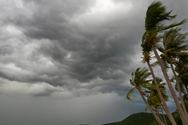 Stormy skies and seas on a tropical beach with palm trees