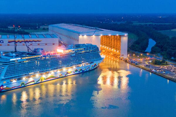 Aerial view of Norwegian Encore's float out at the Meyer Werft shipyard in Papenburg, Germany (Photo: Norwegian Cruise Line)
