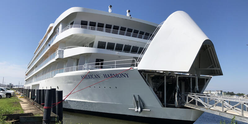 Exterior shot of American Harmony docked in New Orleans on a sunny day