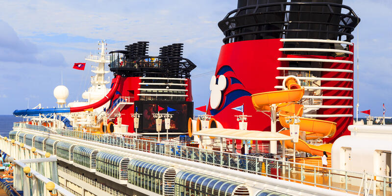 Cropped side-view of Disney Magic's upper decks and funnels
