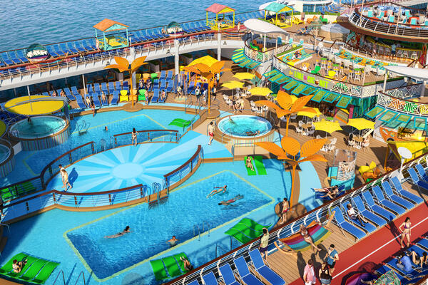 The Refurbished Pool Deck Onboard Freedom of the Seas (Photo: Royal Caribbean International)