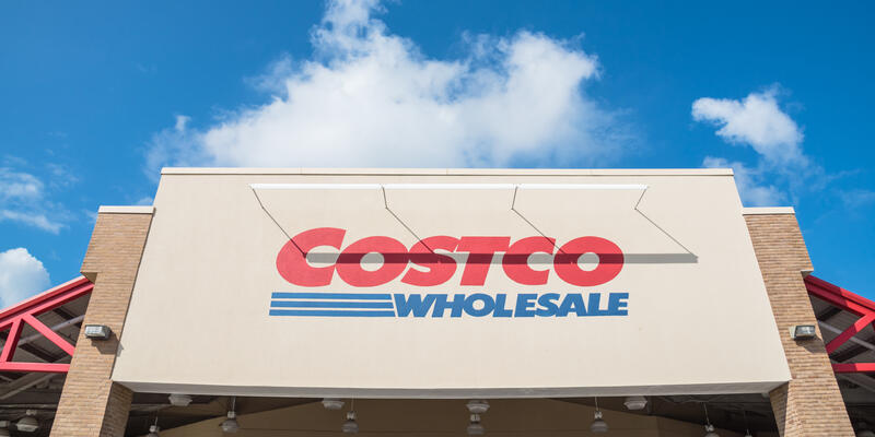 Exterior shot of a Costco Wholesale store on a sunny day