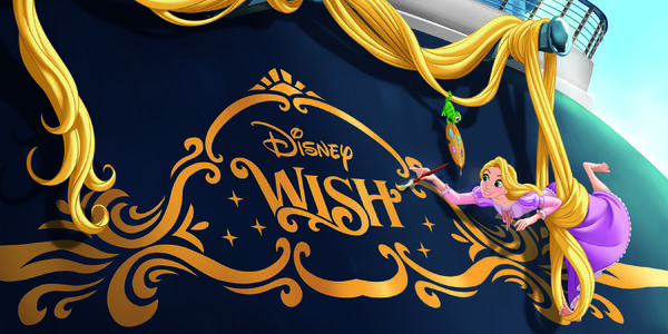Rendering of Disney Wish's stern art, with Rapunzel painting the name