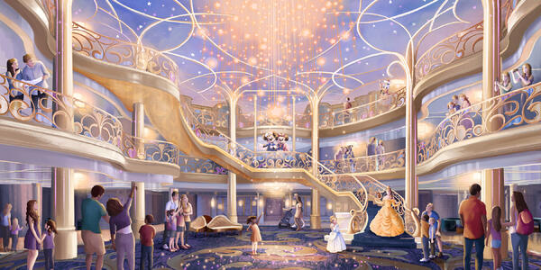 Rendering of the three-story atrium of the Disney Wish, a bright, airy and elegant space.