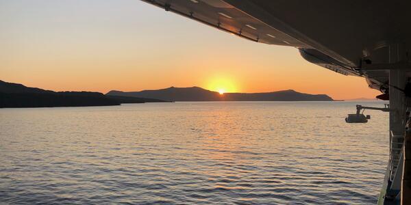 Sunset over Santorini taken from Celestyal Crystal