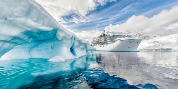 Artist rendering of Crystal Endeavor sailing past a glacier (Image: Crystal Cruises)