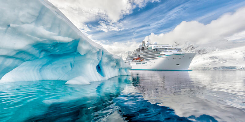 Artist rendering of Crystal Endeavor sailing past a glacier (Image: Crystal Cruises)