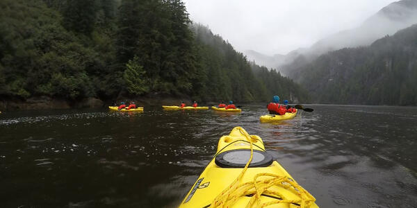 Kayaks in Alaska's Misty Fjord on a Ventures by Seabourn excursion (Photo: Ashley Kosciolek)