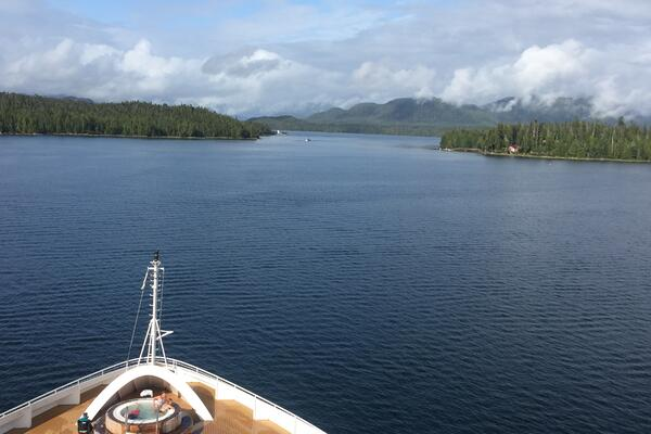View from the bow of Seabourn Sojourn as it sails through Alaska's Inside Passage (Photo: Ashley Kosciolek)