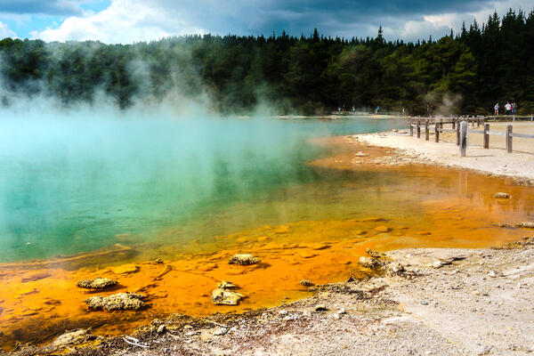 Shot of a colorful, steaming thermal pool at Wai-O-Tapu in Rotorua, New Zealand
