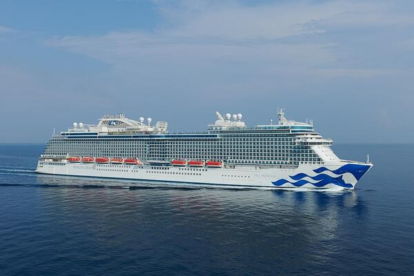 Exterior shot of Sky Princess at sea during its sea trials