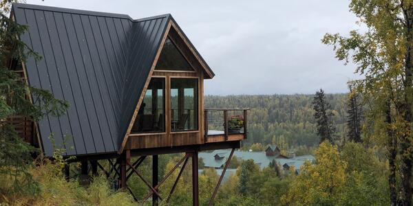 View of The Treehouse surrounded by lush green forest in Alaska