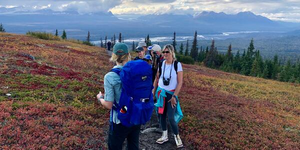 A group of hikers walking along a colorful, Alaska landscape during autumn