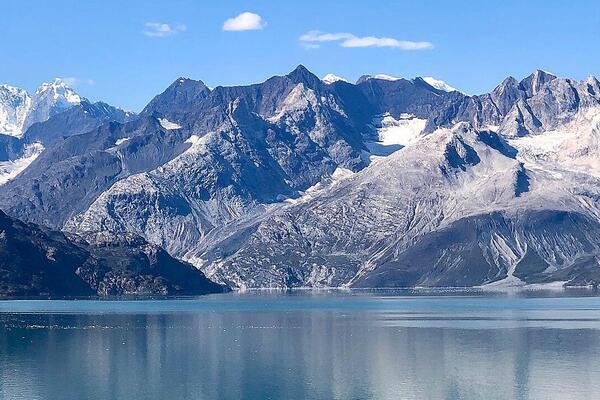 Mountainous landscape in Alaska on a sunny day near Hubbard Glacier