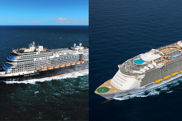 Composite photo of a Holland America ship and a Royal Caribbean ship