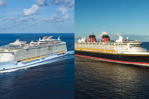 Composite photo of a Royal Caribbean ship and a Disney Cruise Line ship