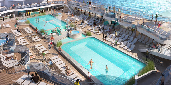 Rendering of The Main Pool Deck, with people, on Sky Princess