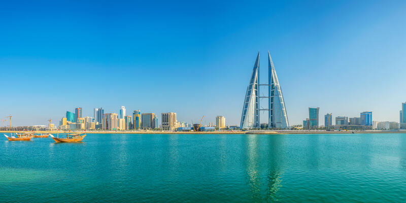 Skyline of Manama dominated by the World Trade Center building, Bahrain (Photo: trabantos/Shutterstock)
