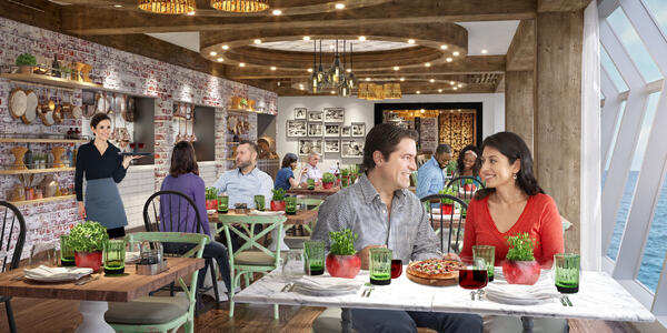 Rendering of passenger smiling and enjoying food and wine at Giovanni's Italian Kitchen