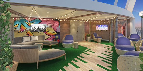 Rendering of the funky outdoor seating area for teens on Explorer of the Seas