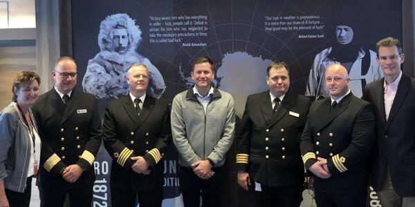 CEO Daniel Skjeldam center with captain, officers and Vancouver port officials (Photo: Brittany Chrusciel/Cruise Critic)