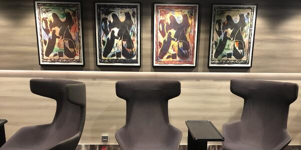 Example of art onboard in passenger hallway (Photo: Brittany Chrusciel/Cruise Critic)