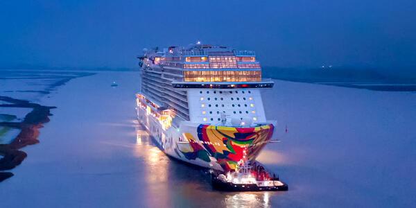 Norwegian Encore departing the Meyer Werft shipyard in Germany on September 30, 2019  (Photo: Norwegian Cruise Line)