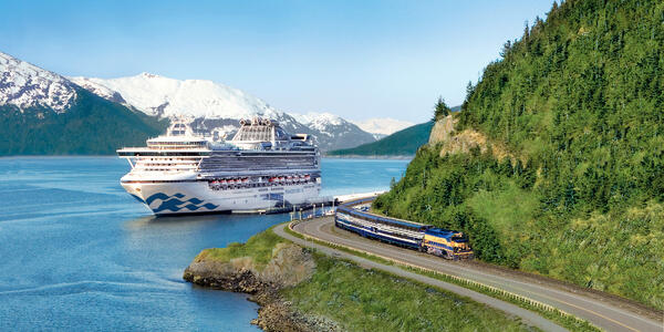 Exterior shot of Sapphire Princess in Whittier, Alaska