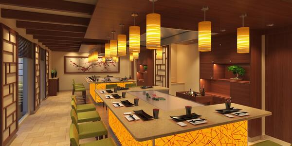 Rendering of Carnival Panorama's Bonsai Teppanyaki restaurant