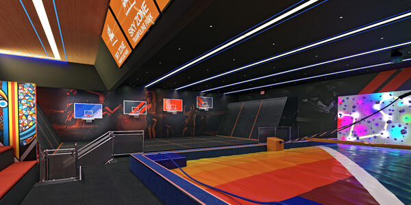 Rendering of Carnival Panorama's new Sky Zone trampoline park