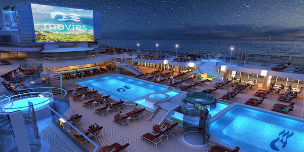Rendering of Sky Princess on the pool deck at night for Movies Under the Stars