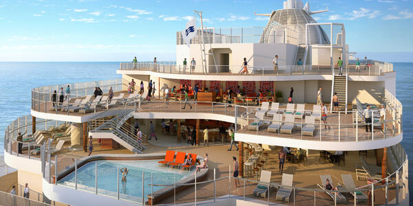 Rendering of the Wakeview Pool with passengers on Sky Princess
