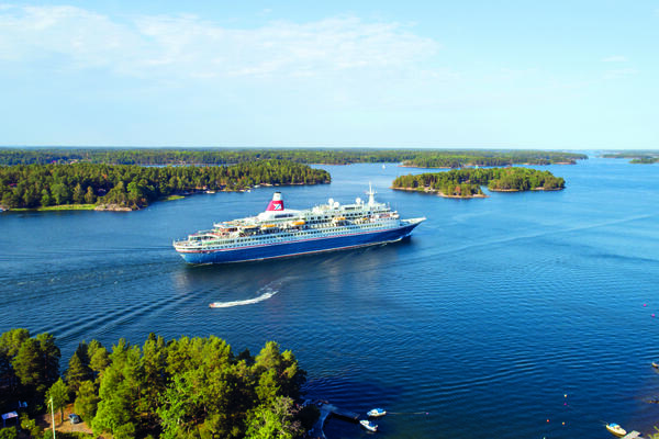 Aerial view of Fred. Olsen's Boudicca in the Swedish Archipelago (Photo: Fred. Olsen Cruises)