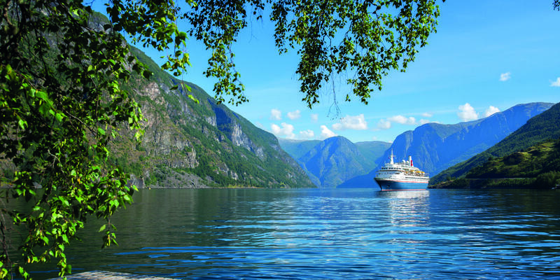 View from land of Fred. Olsen's Black Watch in Flam, Norway (Photo: Fred. Olsen Cruise Lines)