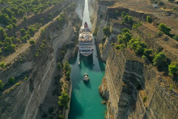 Aerial view of Fred. Olsen's Braemar in the Corinth Canal (Photo: Fred. Olsen Cruise Lines)
