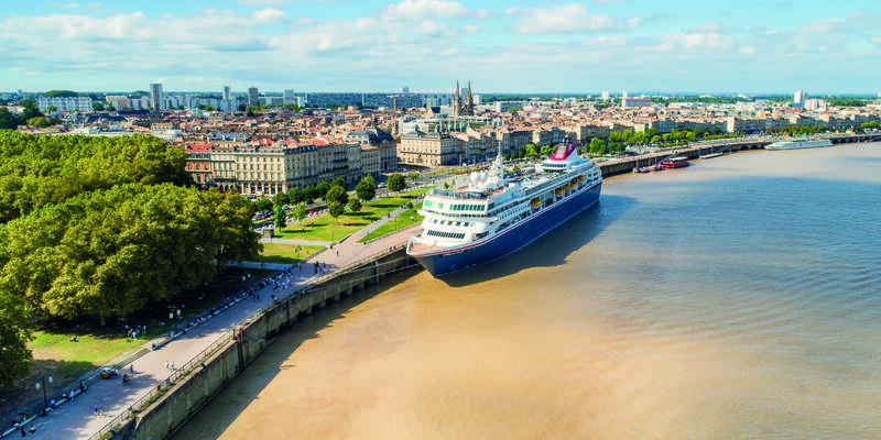 Aerial view of Fred. Olsen's Braemar docked in Bordeaux (Photo: Fred. Olsen Cruise Lines)