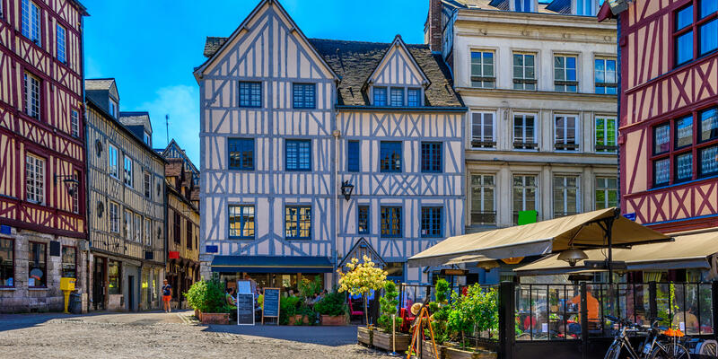 Cozy street with timber framing houses in Rouen, Normandy, France (Photo: Catarina Belova/Shutterstock)